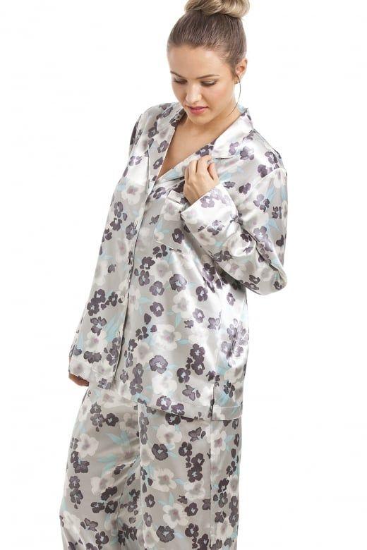 Camille Women Satin Nightwear Sleepwear Grey Floral Full Length Satin Pyjama Set