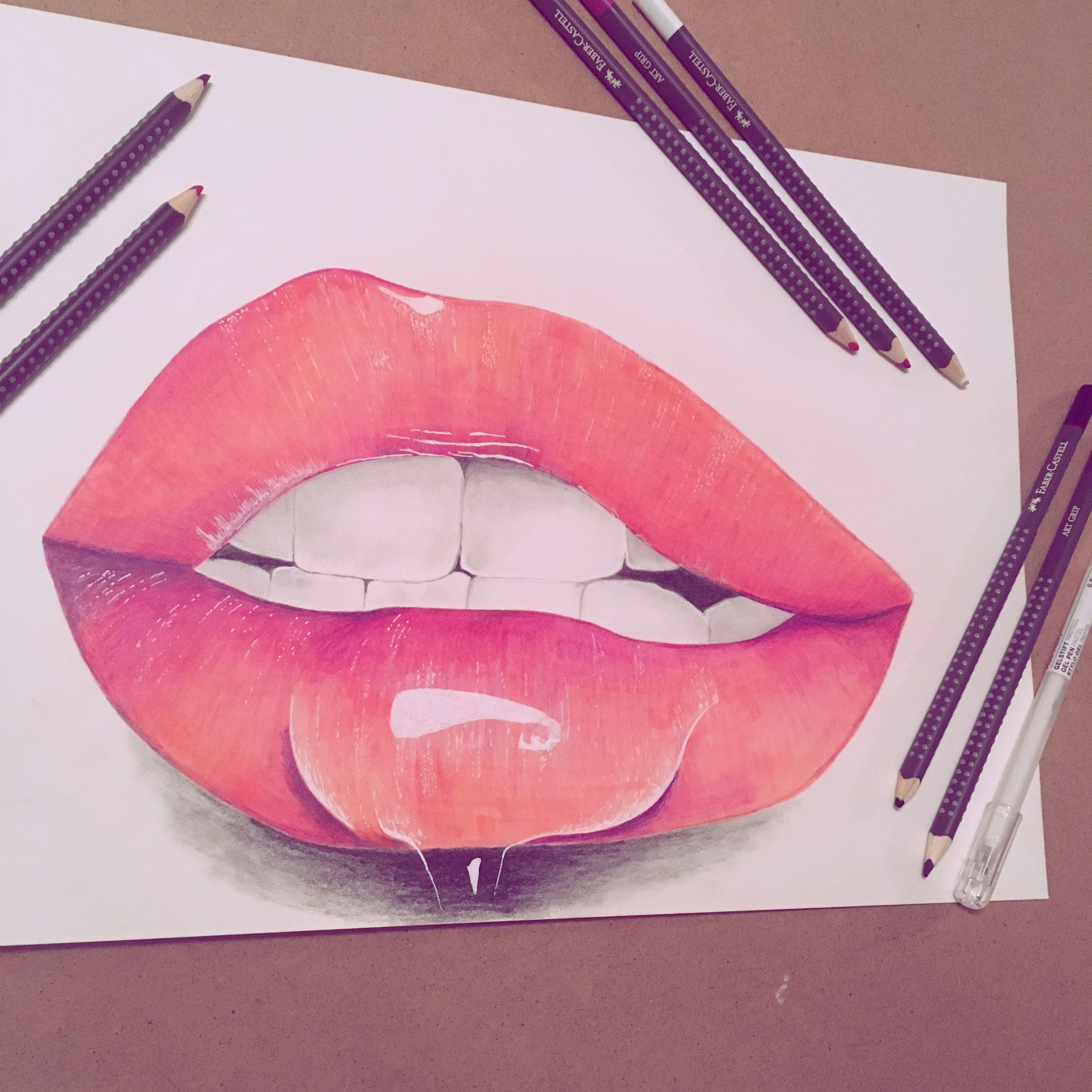 Lip Drawing Lip Gloss Colour Pencils Lip Drawing My Drawings