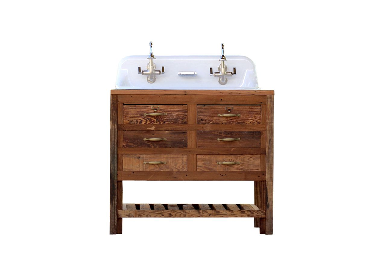 Reclaimed Wood 36 Trough Sink Kohler Farm Sink Apothecary Chest High Back Sink Package Kohler Farm Sink Farm Sink Trough Sink