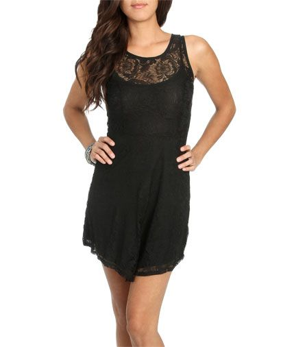 Lace Overlay Skater Dress Black Wet Seal 2950 Wet Seal