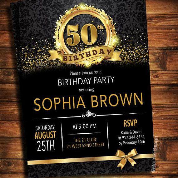 50th Birthday Invitation Black Gold Elegant Invitations Surprise Party 30th