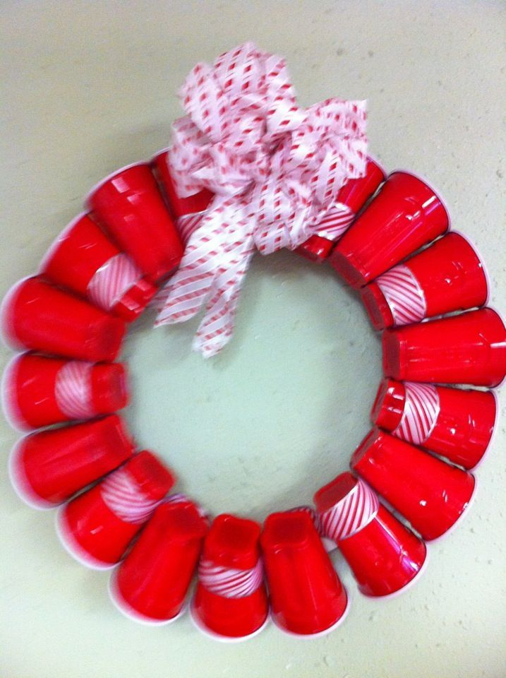College Christmas Theme Party Ideas Part - 46: Red Solo Cup - I Want To Make This For Our Next Party : Red Solo Cup Christmas WreathsDiy Christmas DecorationsChristmas ...