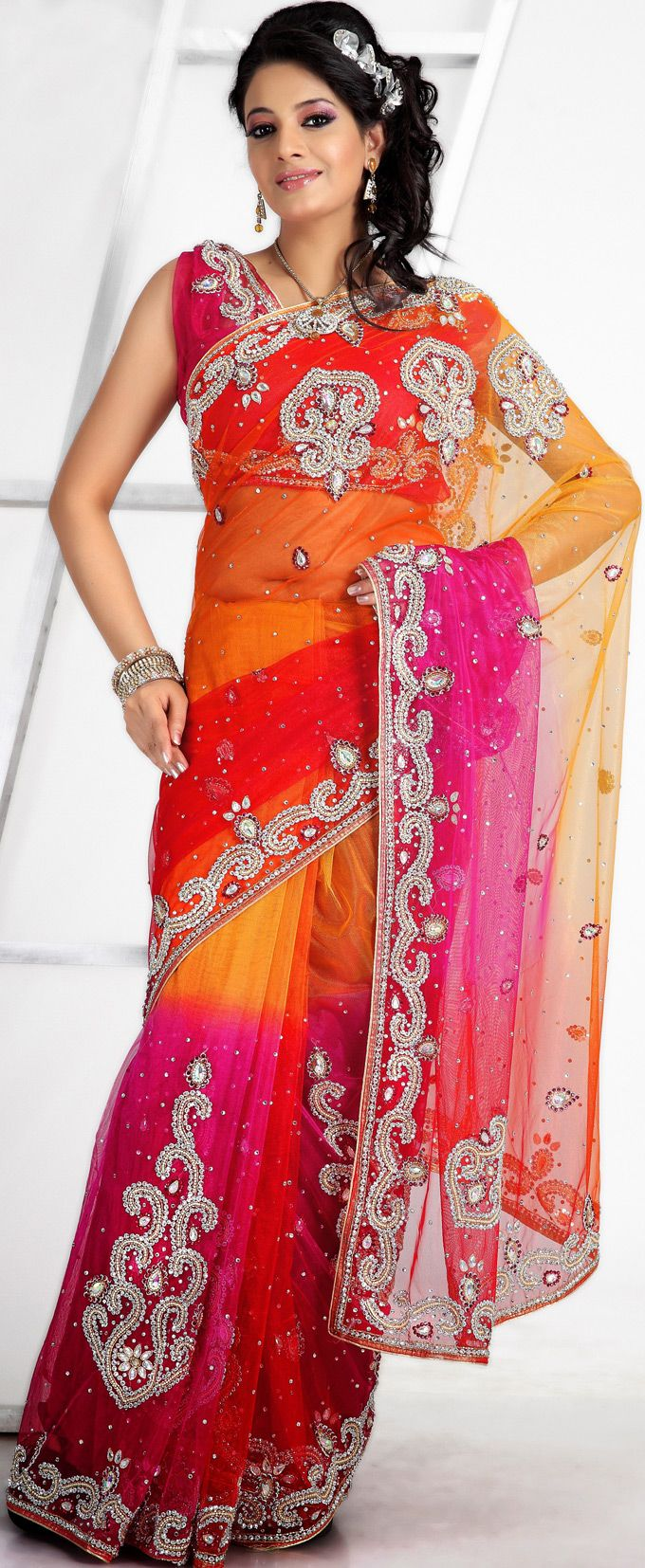 Multicolor #Embroidered #Net #Saree with Blouse | @ $194.27 ...