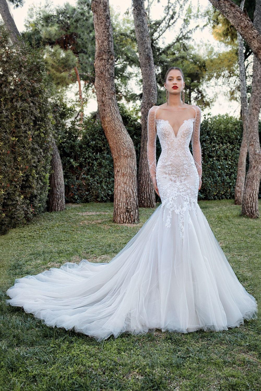 Demetrios 2020 Bridal Collection Sophistique Wedding Dress Long Sleeve Wedding Dresses Sheer Wedding Dress [ 1500 x 1000 Pixel ]