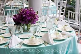 Tiffany Blue And Purple Wedding Table