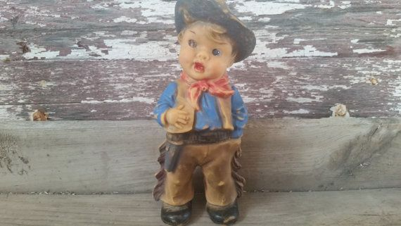 Squeaky toy cowboy, vintage child's squeaky toy, rubber squeaky toy