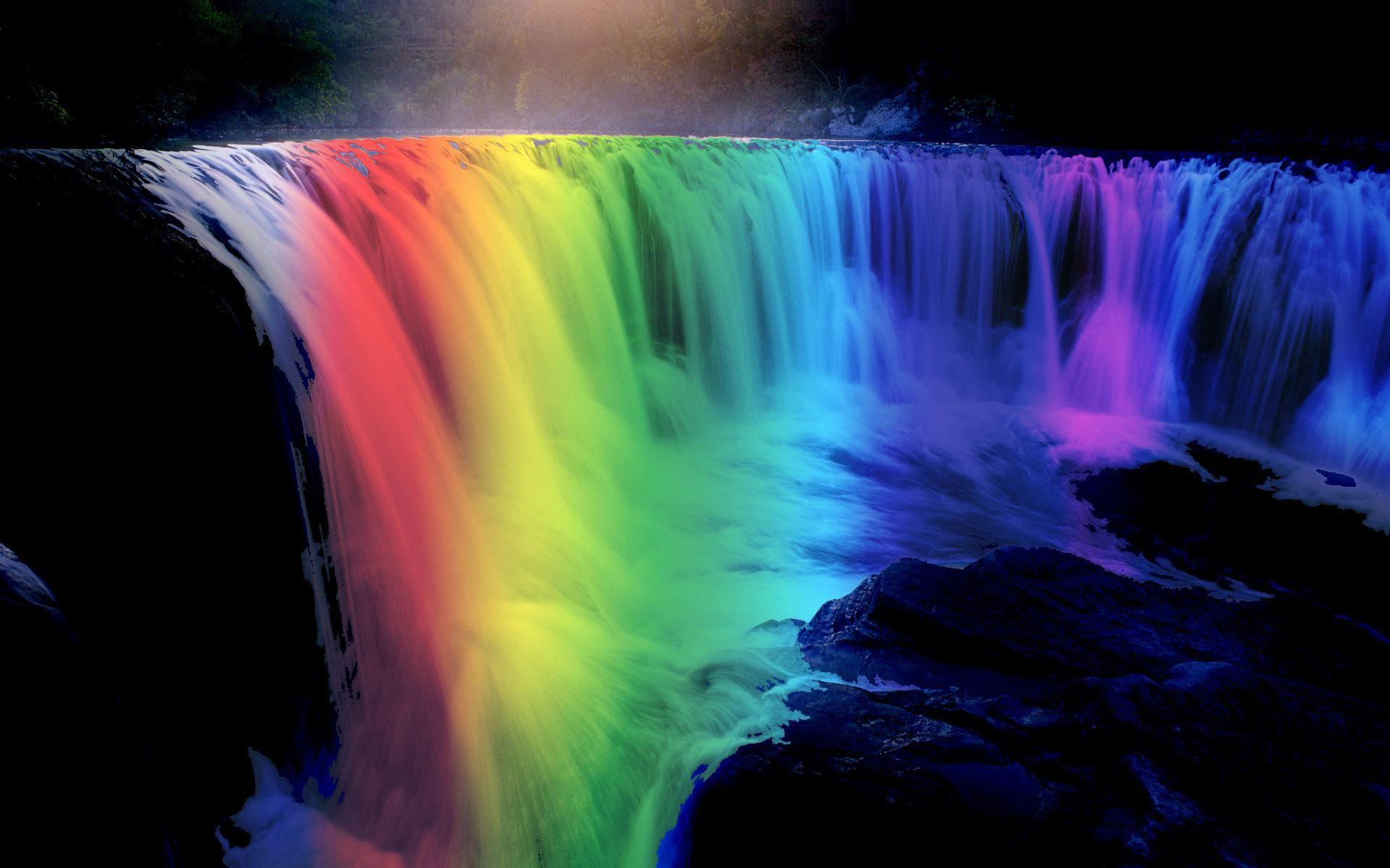 Beautiful Rainbow Waterfall [1920 x 1080] Rainbow