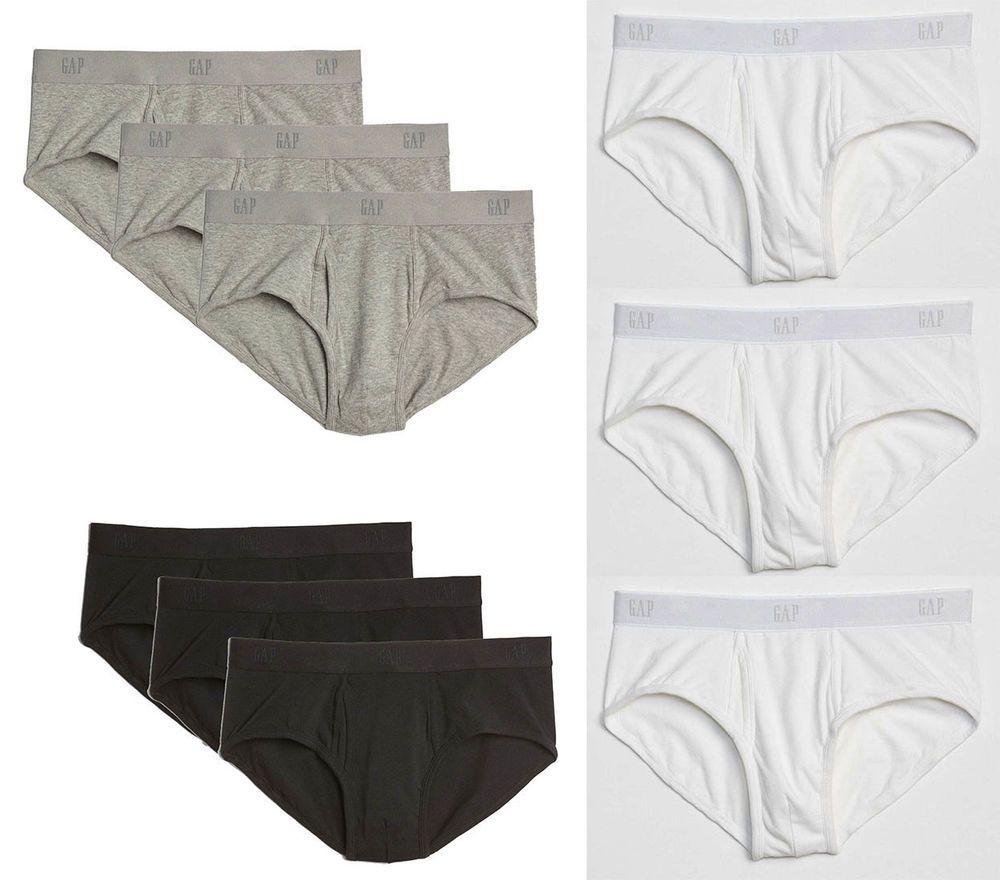 e29871d1f163 GAP Men Pack of 3 Cotton UNDERWEAR Black White & Grey BASIC BRIEFS Waist 30  - 41 #Gap #Briefs