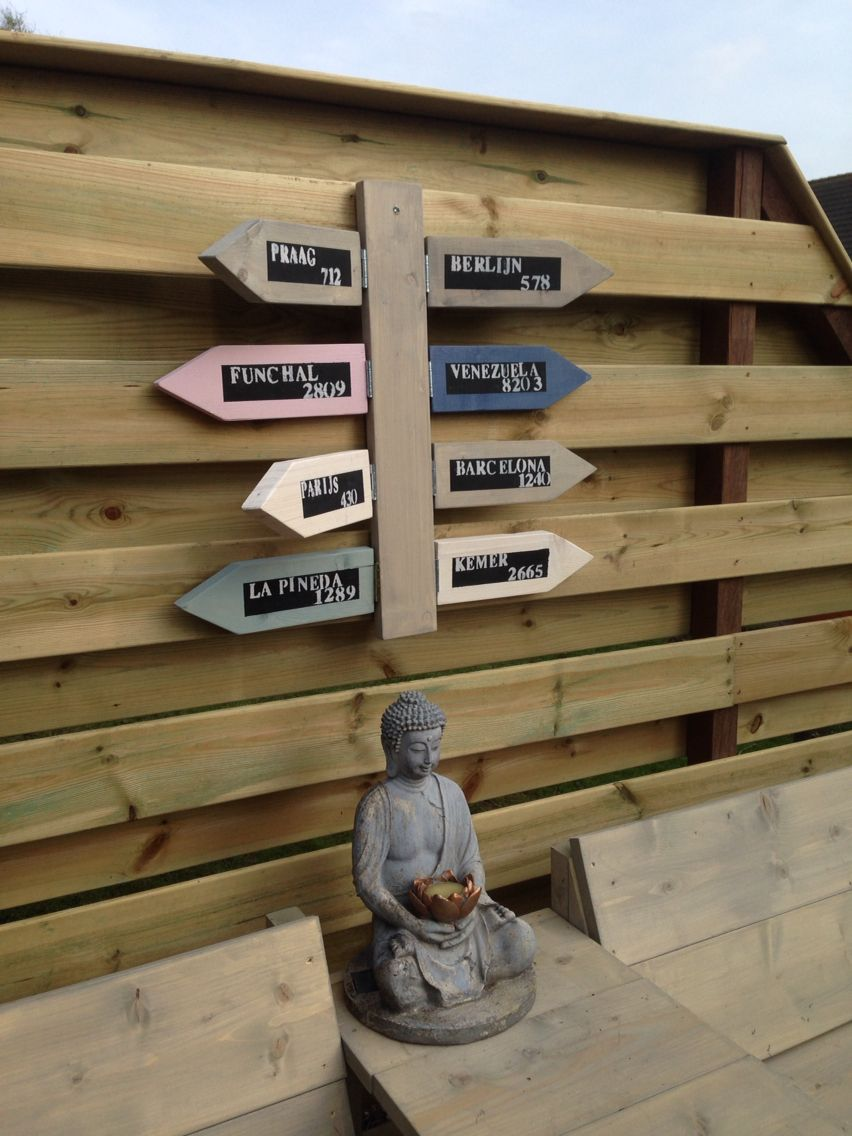 Leuk decoratie voor bijvoorbeeld aan een schutting steigerhout pinterest gardens - Outdoor decoratie ideeen ...