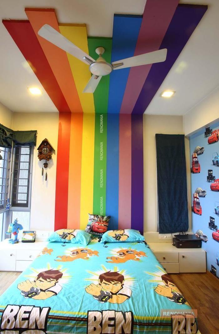 Rainbow headboard and Ceiling False ceiling, False