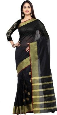 2f42508ea2 Bhuwal Fashion Self Design Fashion Silk Cotton Blend Saree(Black, Gold)