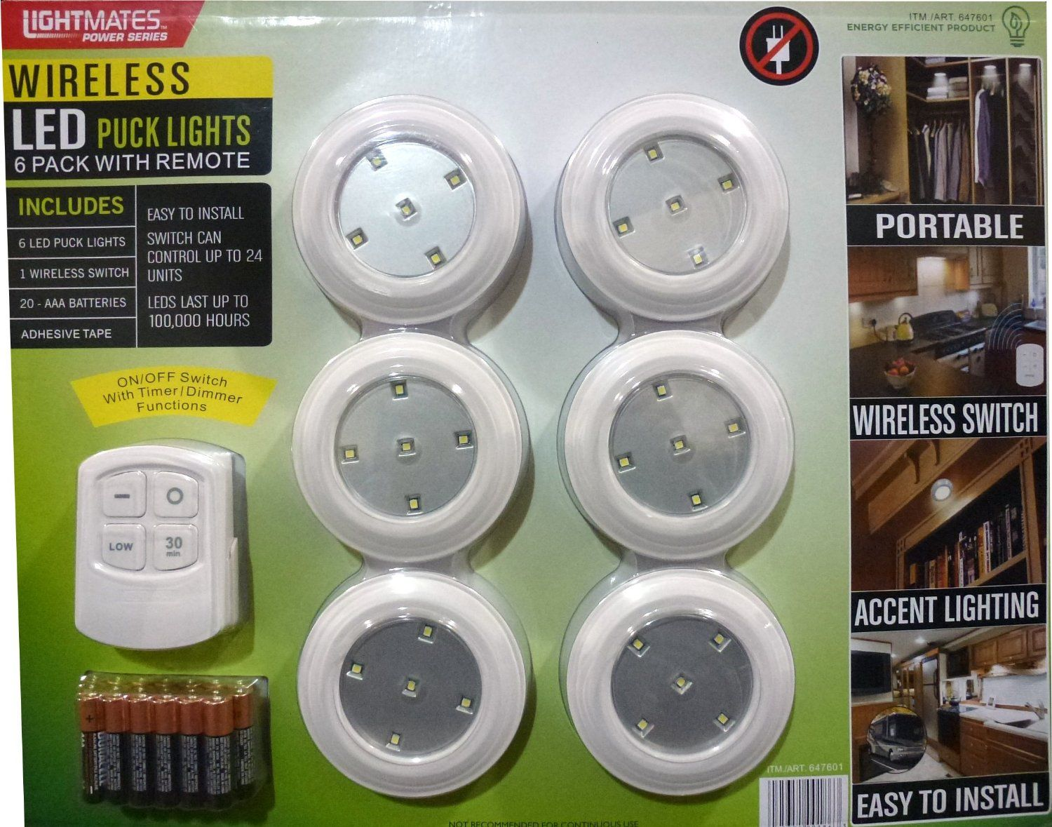 Lightmates LED Wireless Puck Lights with Remote & Batteries - 6 ...
