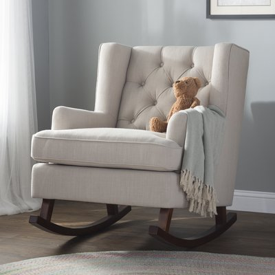 Abbyson Living Thatcher Fabric Rocking Chair In Beige Bankers Cushion Darby Home Co Abree Upholstery Products