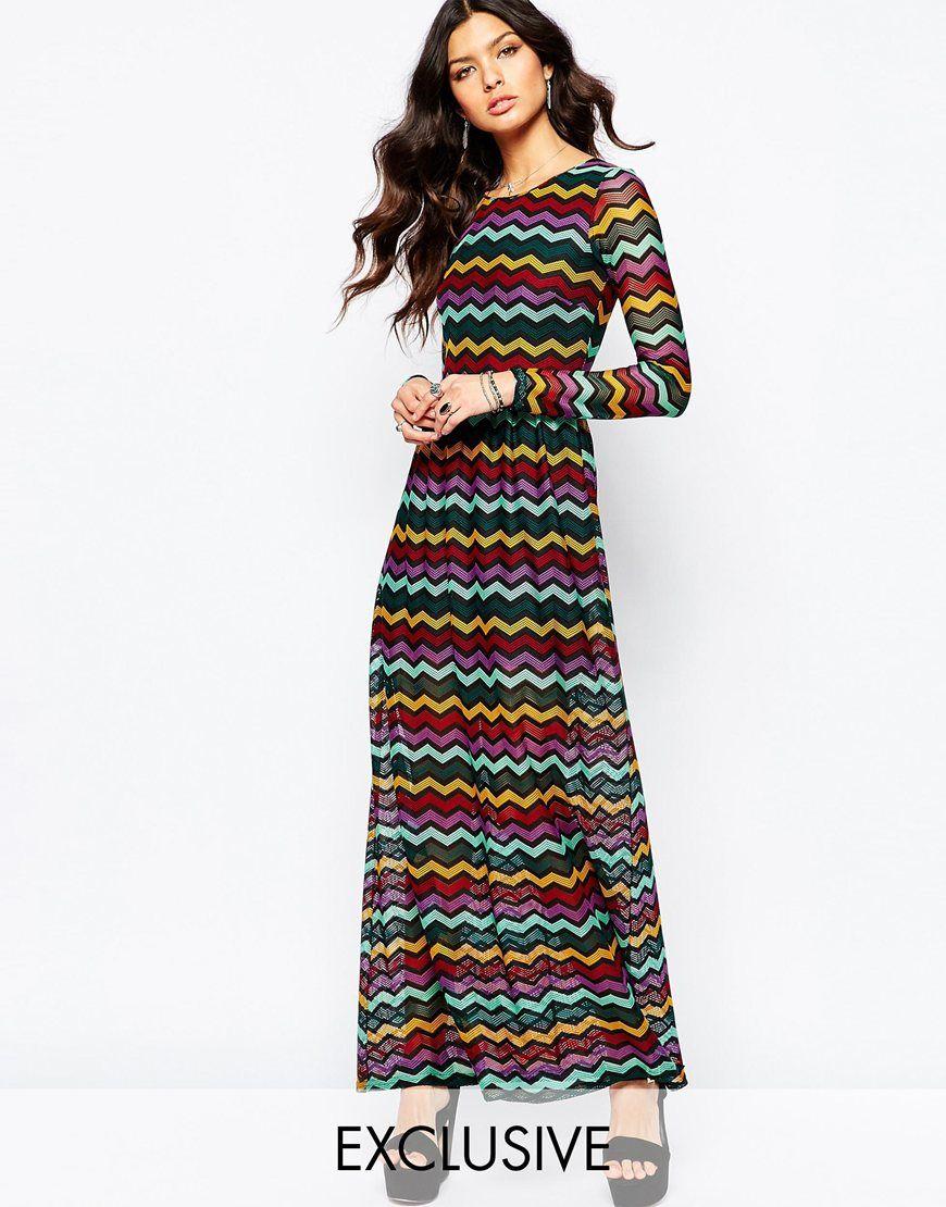 Zig zag maxi dress with pockets
