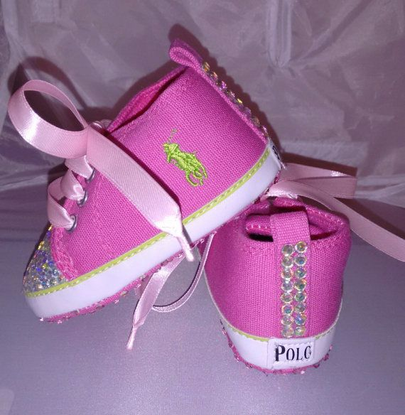 Customised Baby Girl Pink Denim Polo Crib Shoes by HuggyWuggys