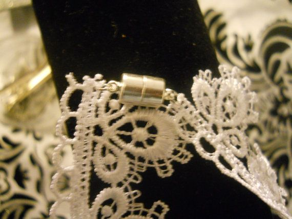 14 inch Lace Bridal choker with hand sewn pearls and by Shelithas, $16.99