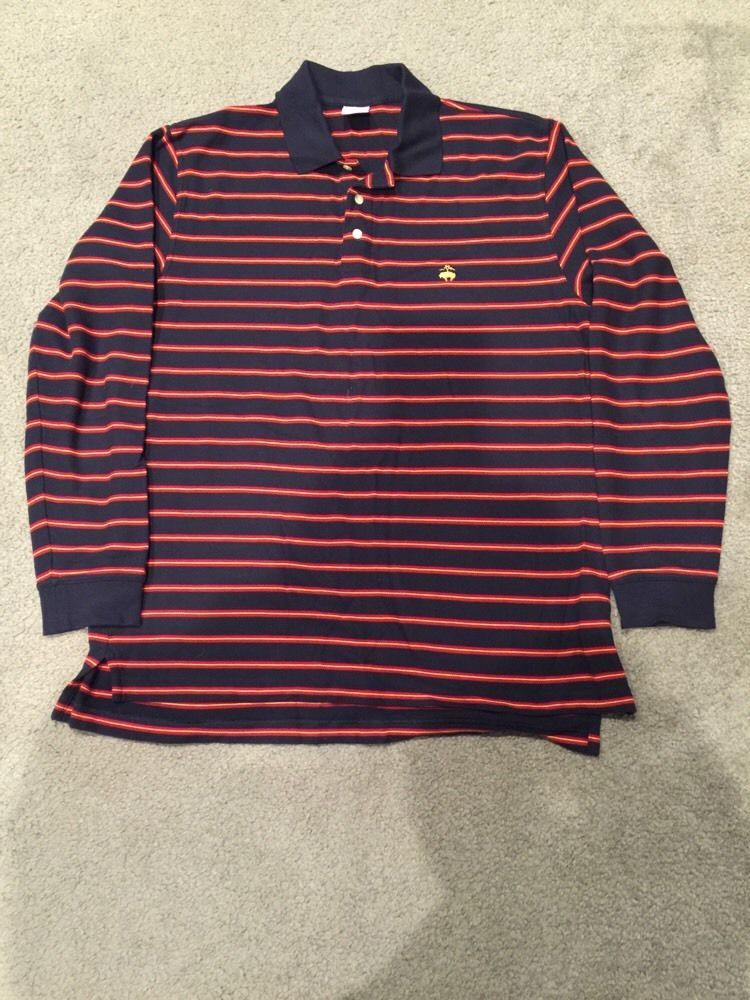 e165d109 ... best price brooks brothers striped rugby long sleeve polo shirt size l  navy maroon gold brooksbrothers