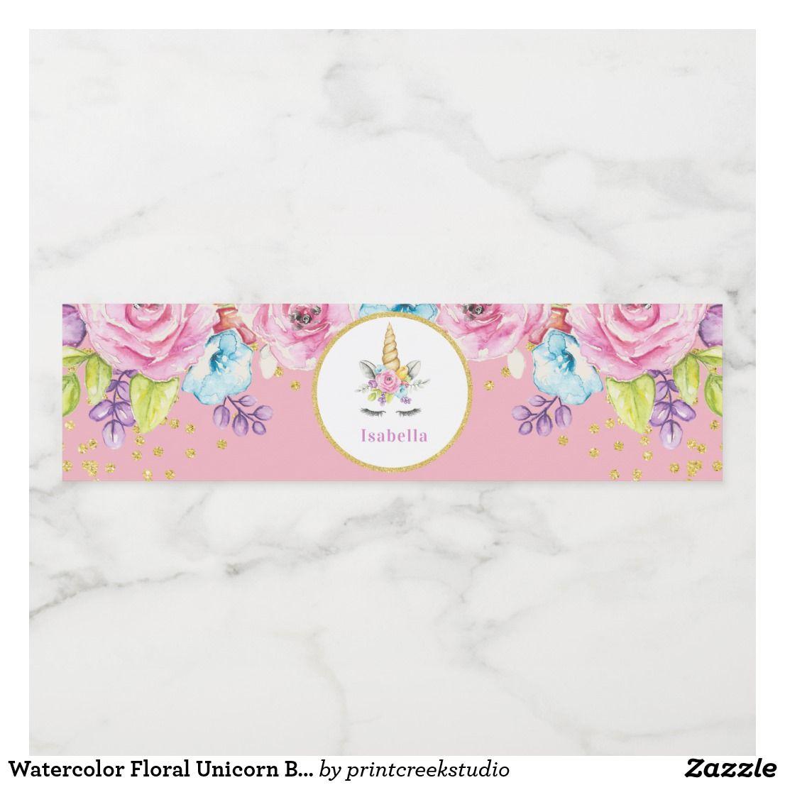 Etiqueta Para Botella De Agua Cumpleaños floral del unicornio de la ...