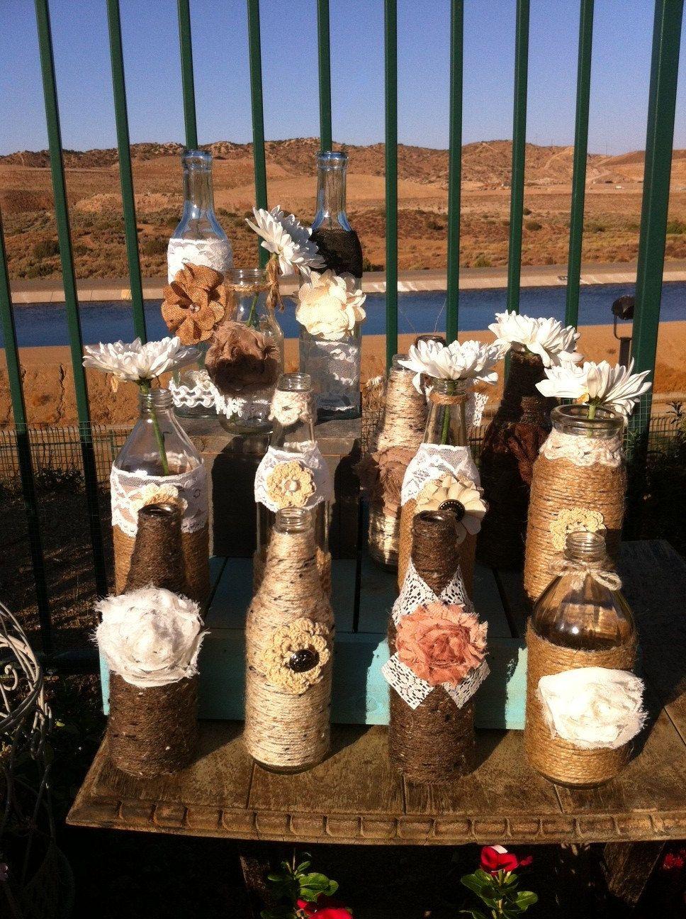 Vintage Rustic Chic Wedding Vase Bottle Centerpieces -2204