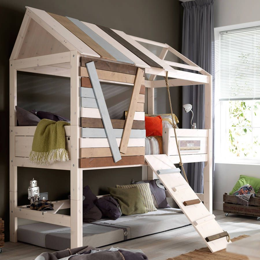 High Tree House Kids Bed With Rope Ladder Trees
