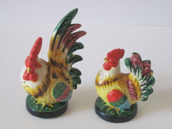 Vintage Rooster Salt and Pepper Shakers  Japan by PhotosPast, $11.00
