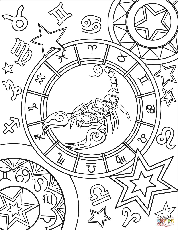 Scorpius Zodiac Sign Super Coloring Love Coloring Pages Zodiac Signs Colors Coloring Book Pages