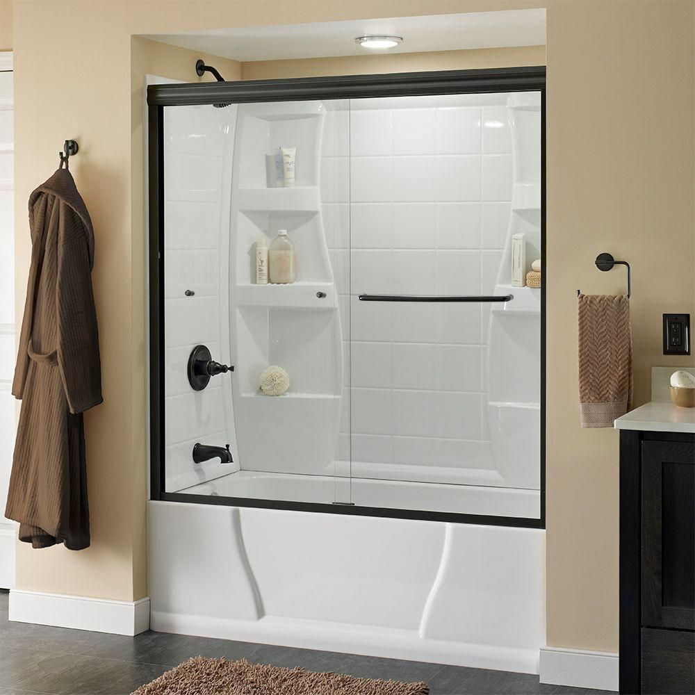 Delta Simplicity 60 In X 58 1 8 In Semi Framed Sliding Tub Door In Bronze With Droplet Glass Bathtub Doors Tub Shower Doors Tub Doors