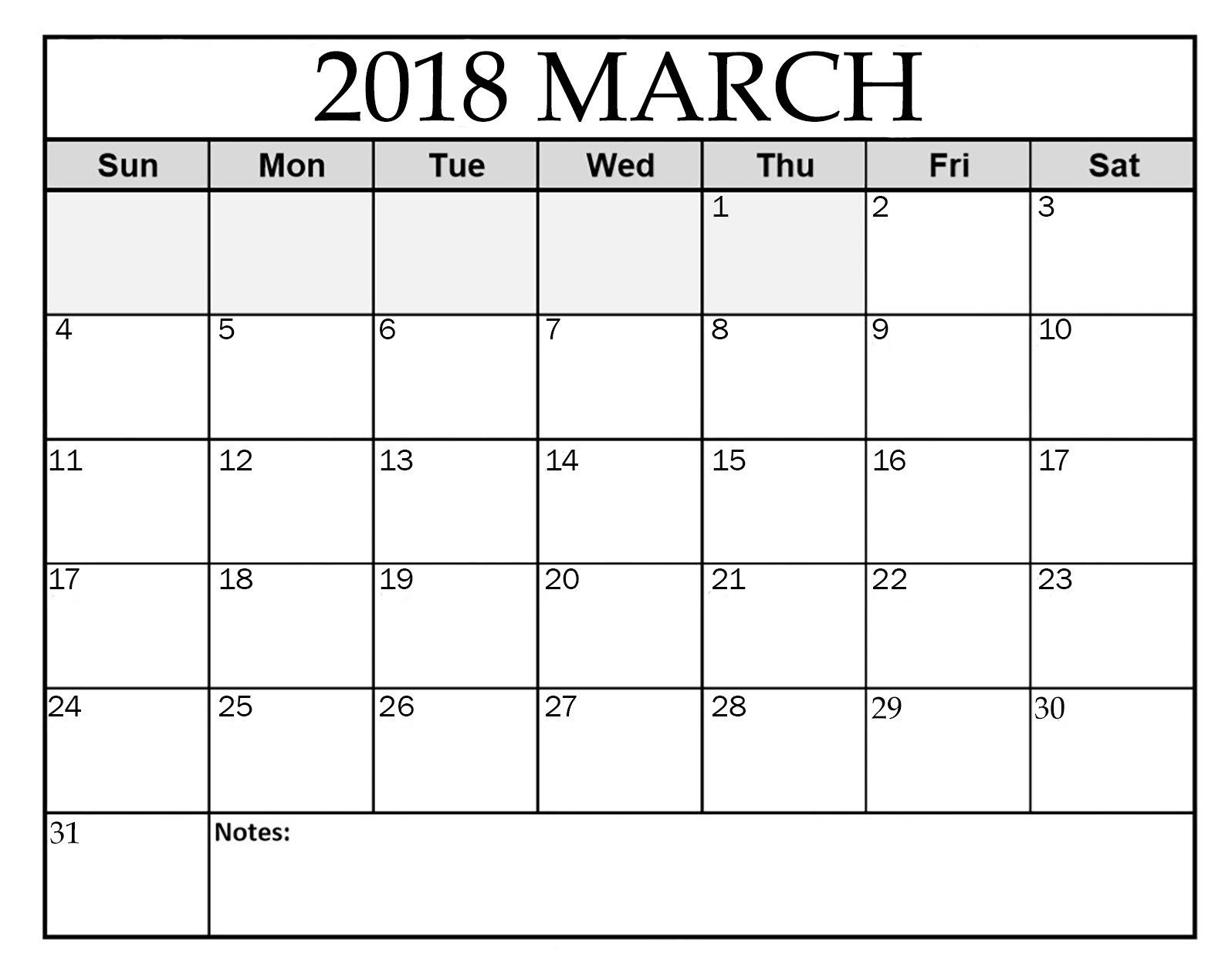 2018 march calendar template free download march 2018 calendar template pdf word excel https
