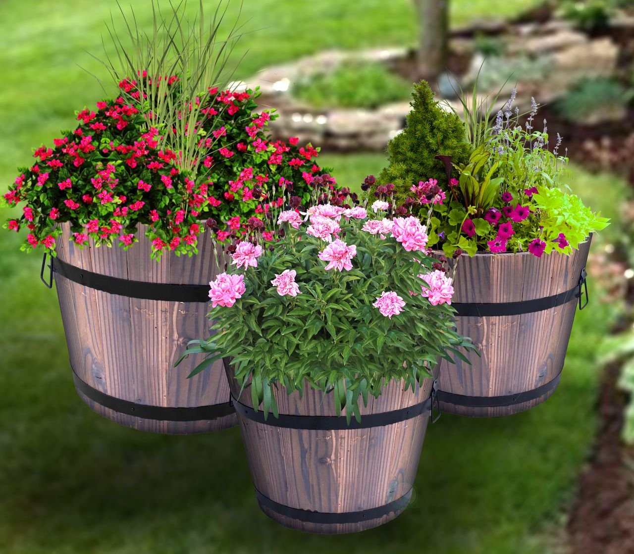 Wooden Whiskey Barrel Planters (With images) Whiskey