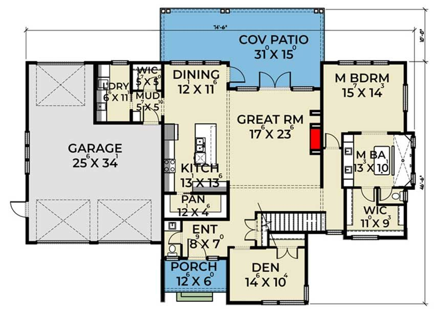 Plan 280035jwd Efficient Modern Home Plan With Drive Through Garage Modern House Plans Garage House Plans House Plans