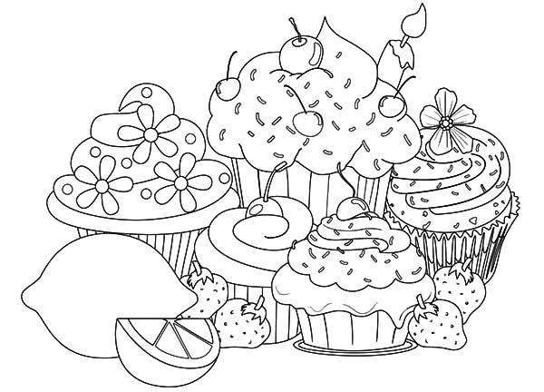 download and print these cake and cupcake coloring pages for freecolor in this picture - Cupcakes Coloring Pages