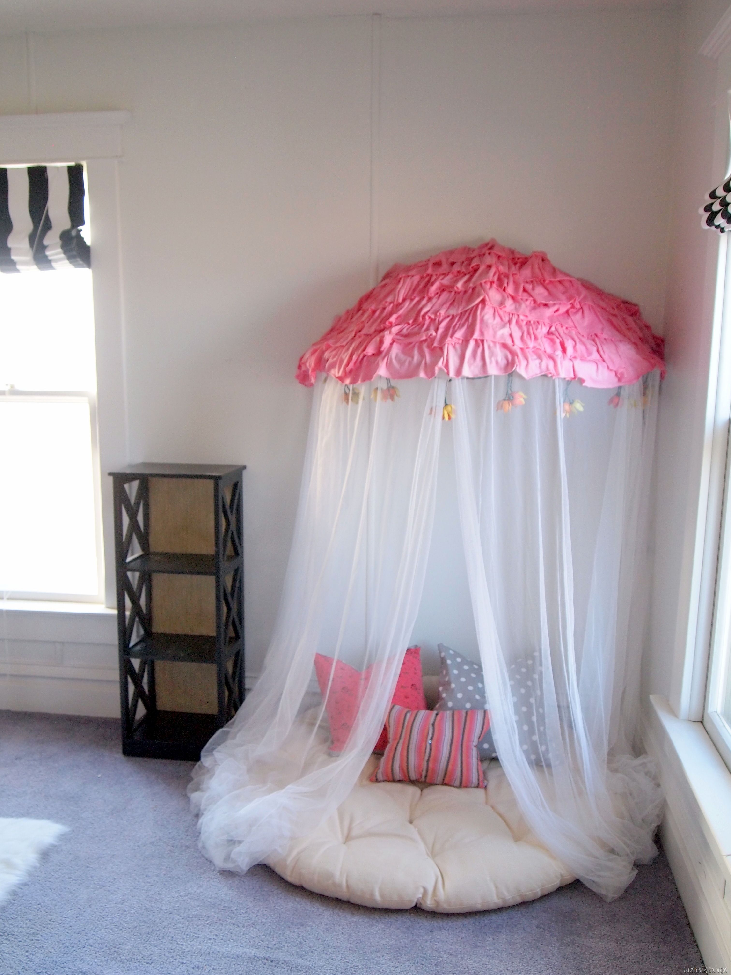 Papason chair turned Reading Nook Canopy! Sawdust and Embryos & Pinwheel Collage using scrapbook paper | Canopy Nook and Room