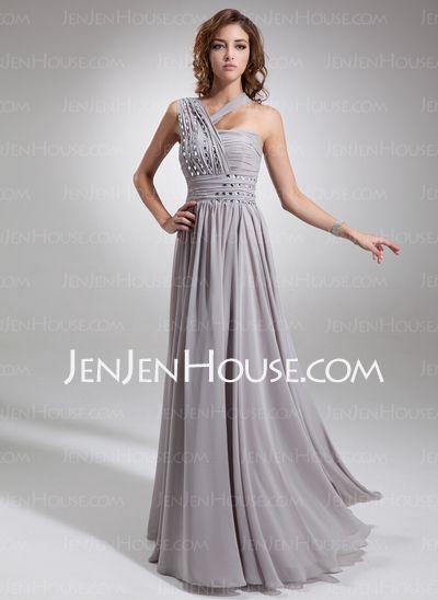 Evening Dresses - $156.49 - A-Line/Princess One-Shoulder Floor-Length Chiffon Evening Dress With Ruffle Beading (017016739) http://jenjenhouse.com/A-Line-Princess-One-Shoulder-Floor-Length-Chiffon-Evening-Dress-With-Ruffle-Beading-017016739-g16739