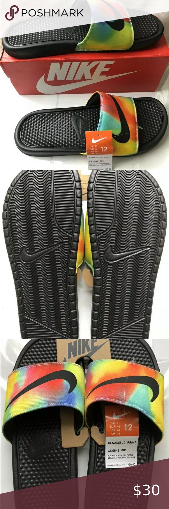 NIKE Slide Sandals Tie Dye Men's Size 12 NIKE Benassi JDI PRINT Slide Sandals CK0842-001 Tie Dye Men's Size 12 Nike Shoes Sandals & Flip-Flops
