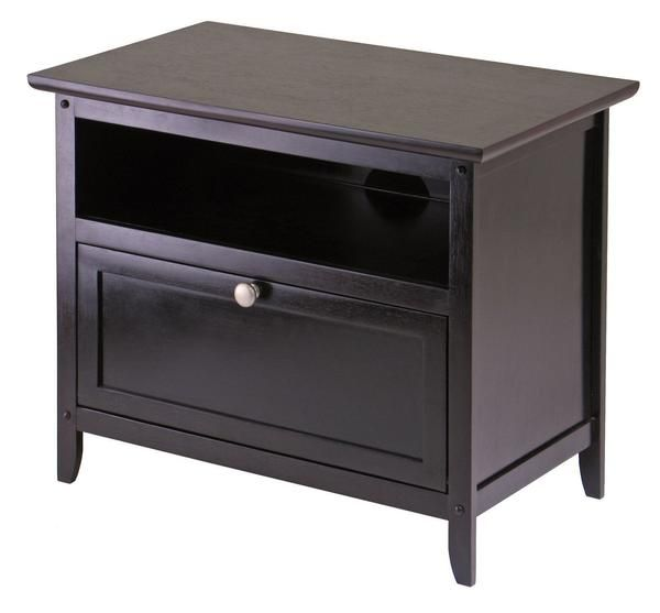 From Winsome Wood's new Zara line of TV cabinets, a wood stand with one open storage shelf and one storage shelf with pull down door. The Zara TV Stand is a gre