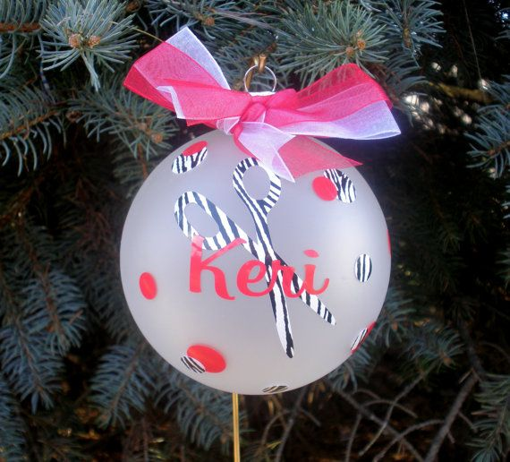 Personalized Hair Stylist / Hair Dresser Glass Christmas Tree ...
