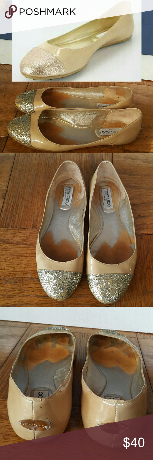 fbe2266d0b04 JIMMY CHOO Ballet Shoes Size 39 Fair condition. Some glitters fell off.  Faded base