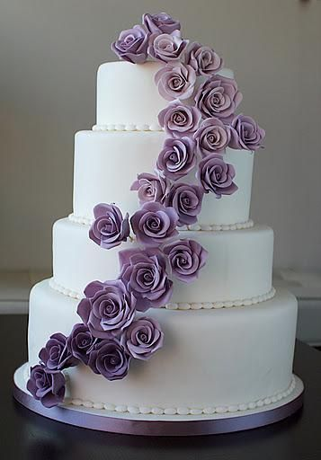 White Wedding Cake With Lilac Lavender Purple Roses Ombre