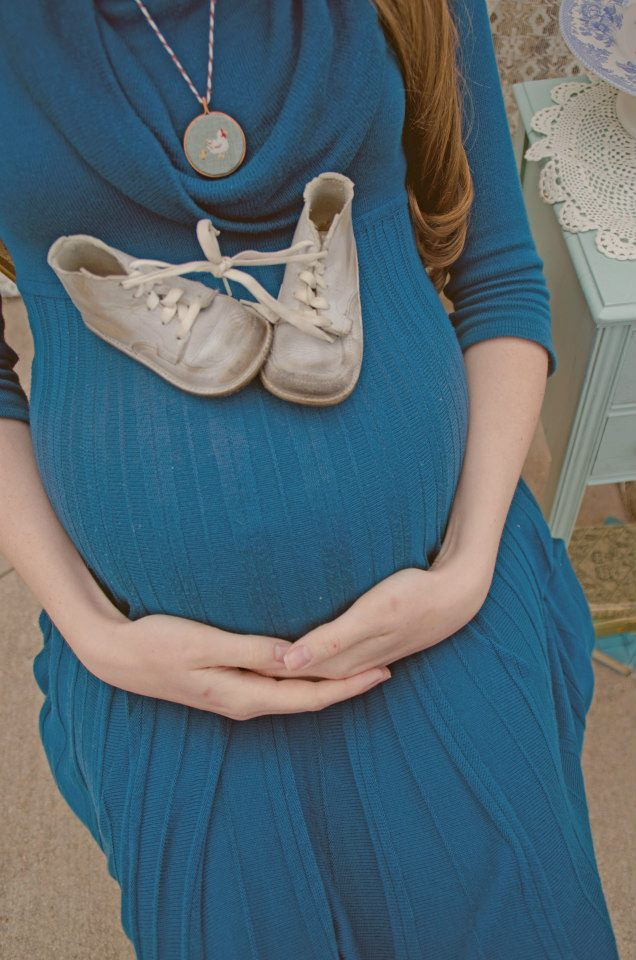 Maternity Pics. Shoes on belly.