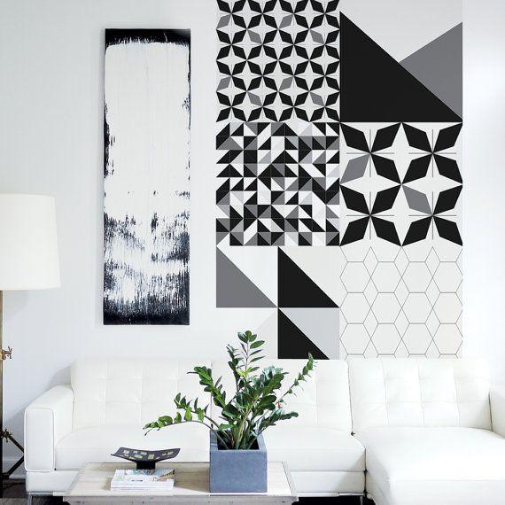 Wallpaper Tile, 24x24 Tiles, Geometric Decor, Abstract, Self-adhesive Wallpaper, Black, Blue, Wall Decoration. Tile Wallpaper