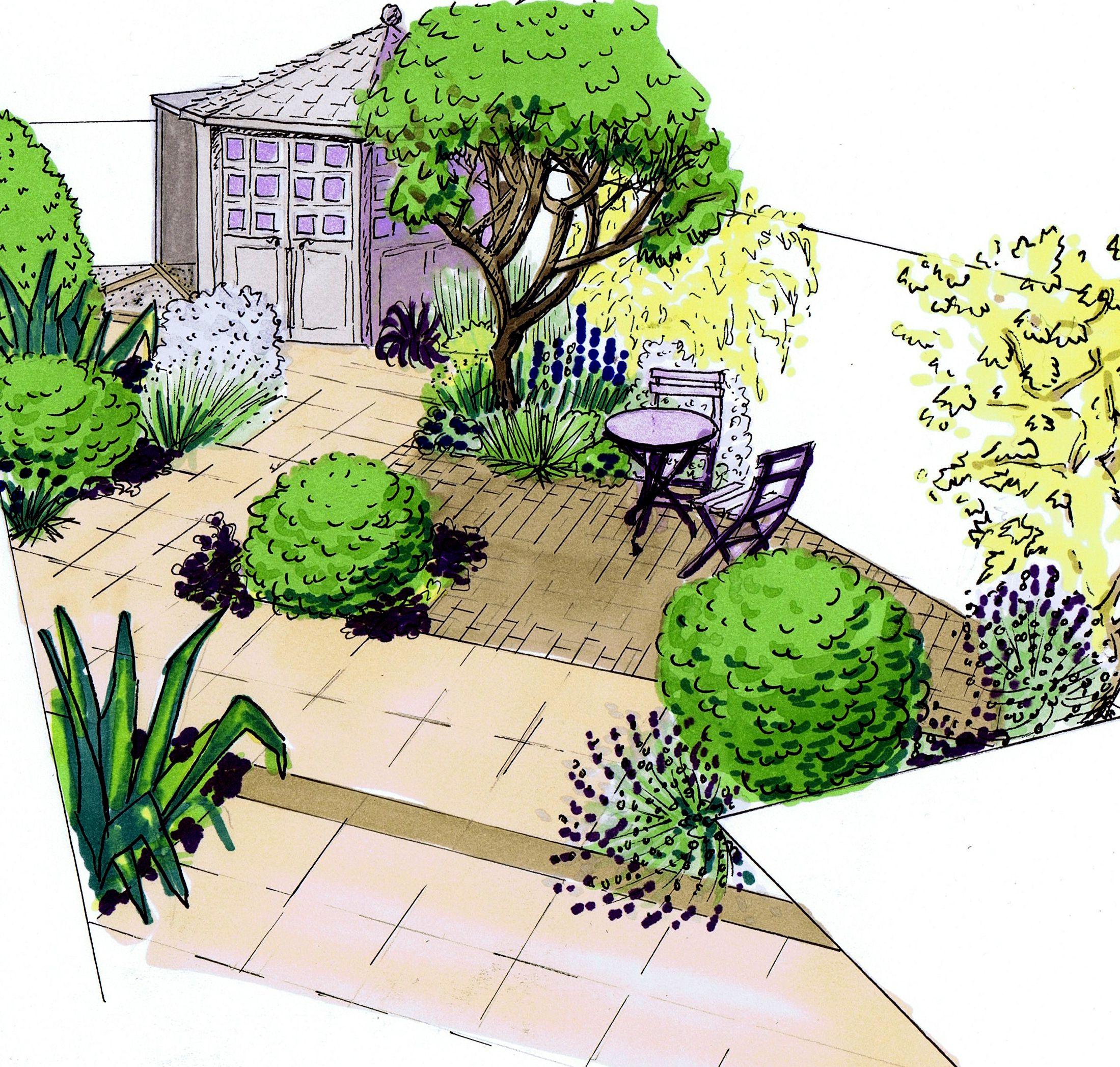 Design For A Small Town Garden Garden Illustration 400 x 300