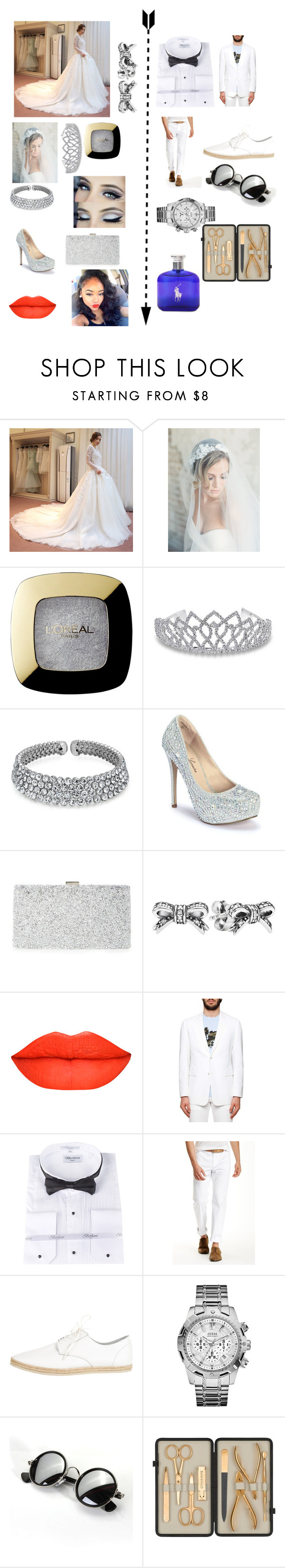 """my wedding day"" by eniola-niranoluwa on Polyvore featuring Yacca, L'Oréal Paris, Bling Jewelry, Lauren Lorraine, Sondra Roberts, Pandora, Dior Homme, John Varvatos, Yohji Yamamoto and GUESS"