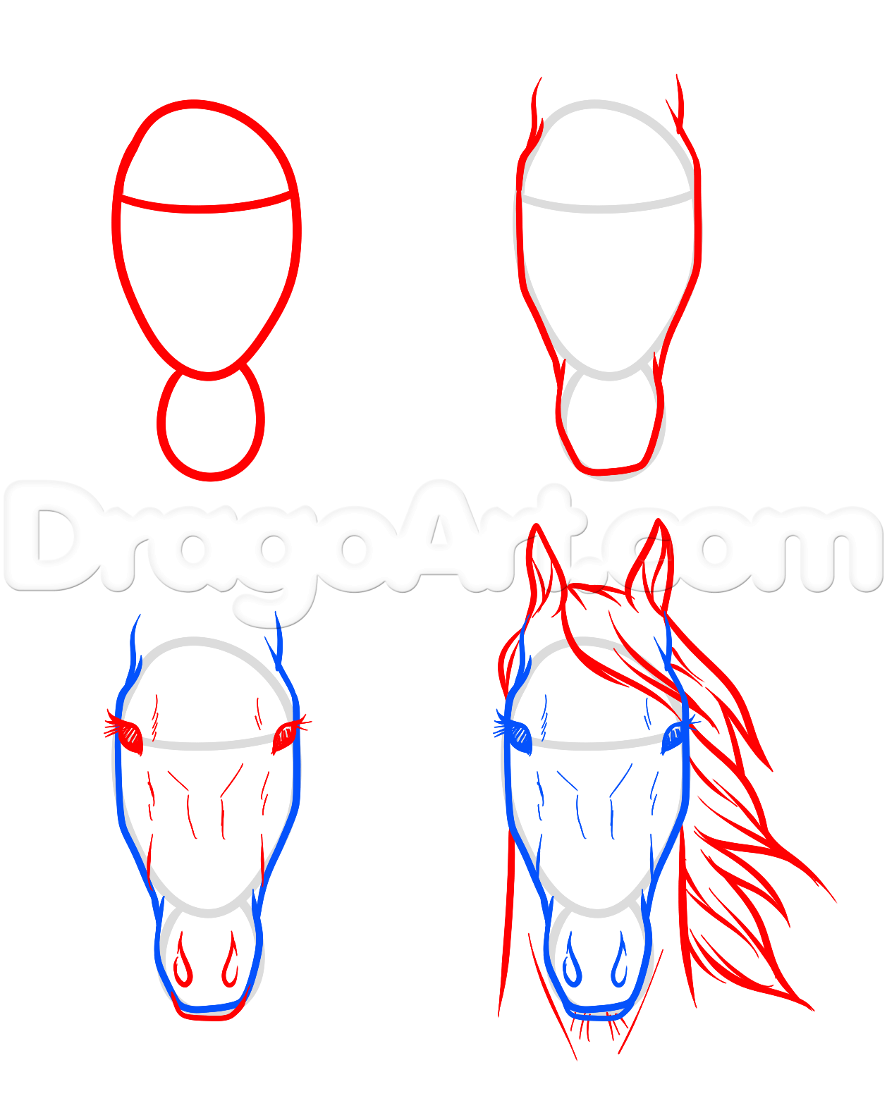 how to draw a water horse step by step