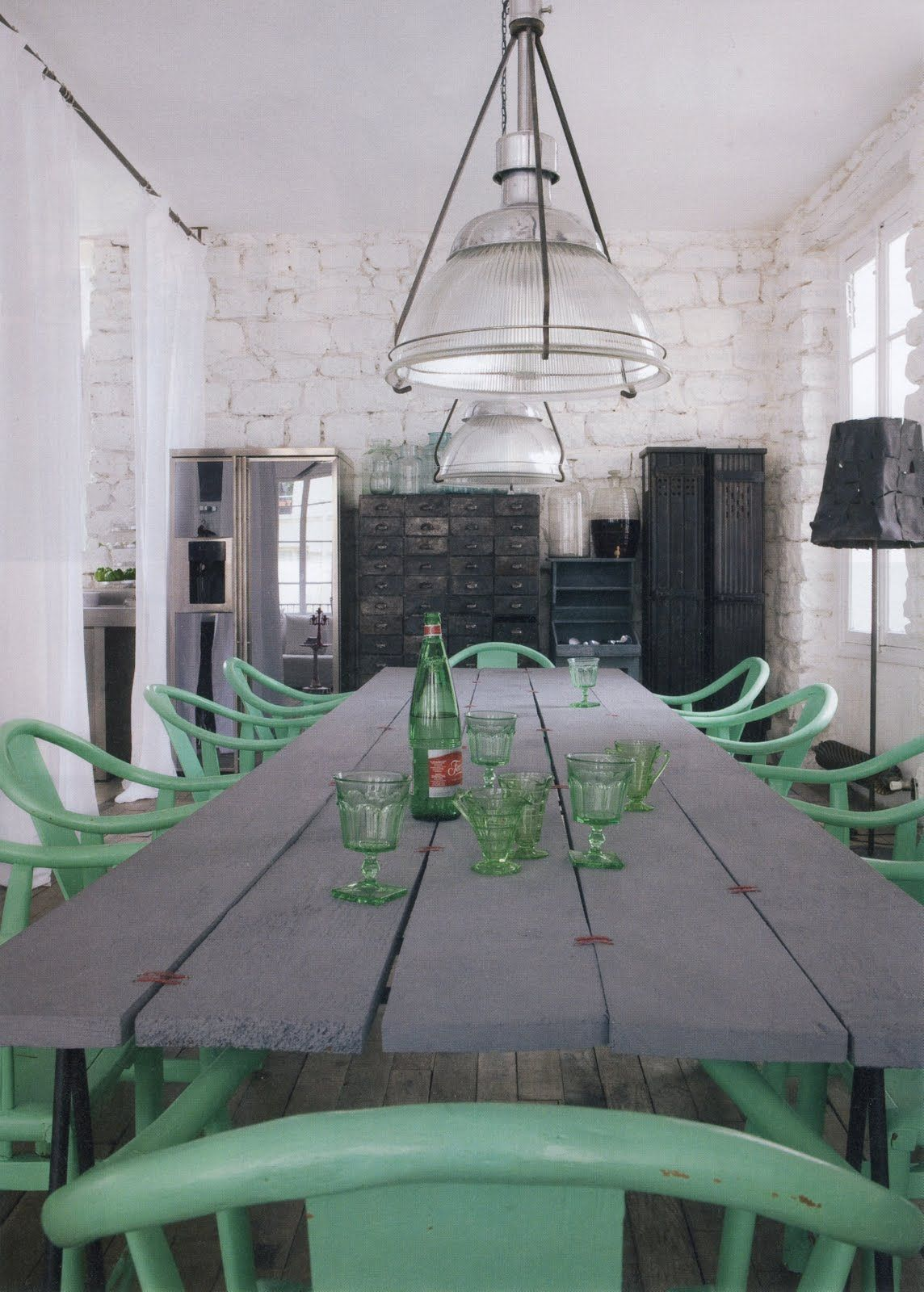 Cozy Grey Green Antique Dining Room