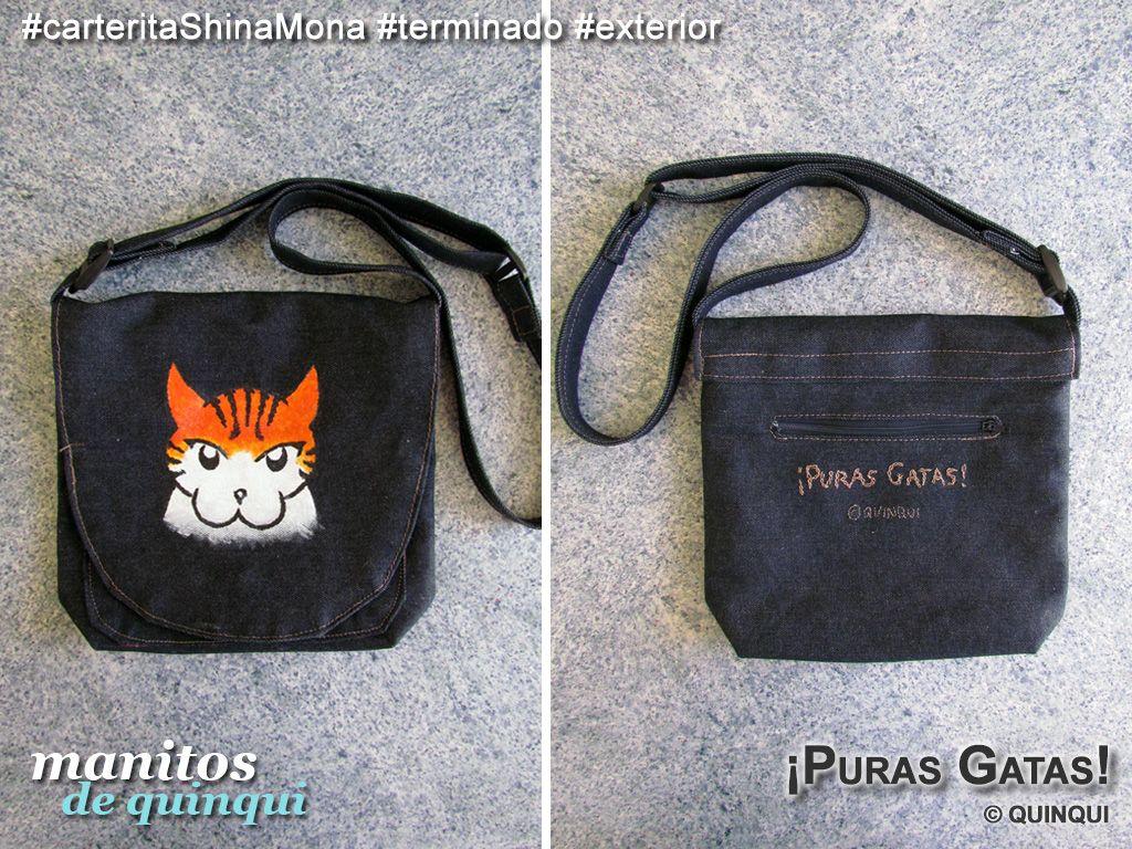 #carteritaShinaMona  #ManitosDeQuinqui #manualidades #bolso #cartera #bag #mezclilla #estampado #pinturatelas #pinturagenero #bordado #PurasGatas #webcomic #hechoamano #handmade