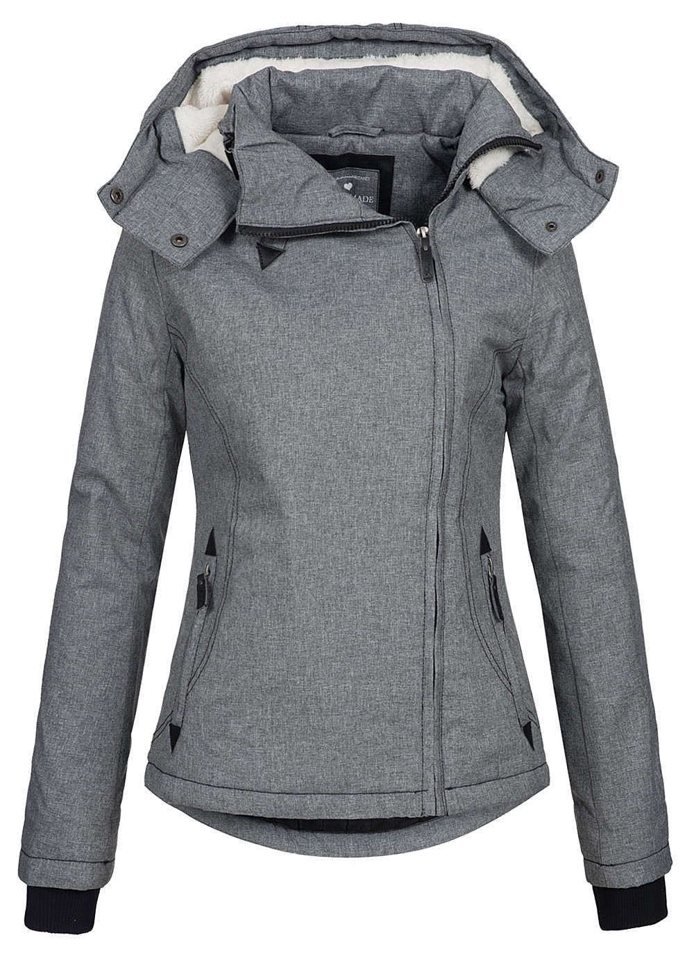Eight2Nine Damen Winter Jacke wasserabweisend asym Zipper by Fresh Made  dunkel grau mel - 77onlineshop 2008b5064e