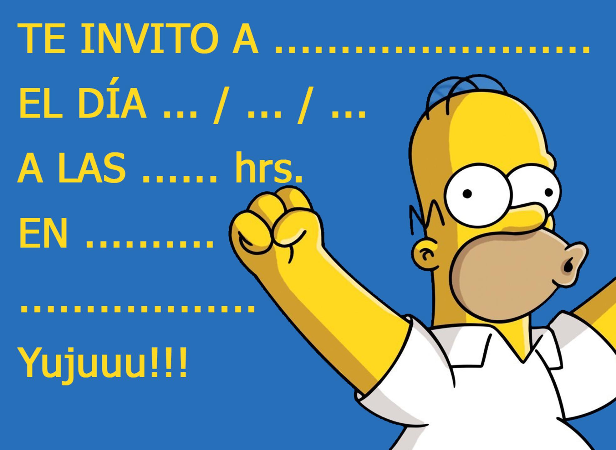 Invitación Para Cumpleaños Homero Simpsom Pegatinas Los