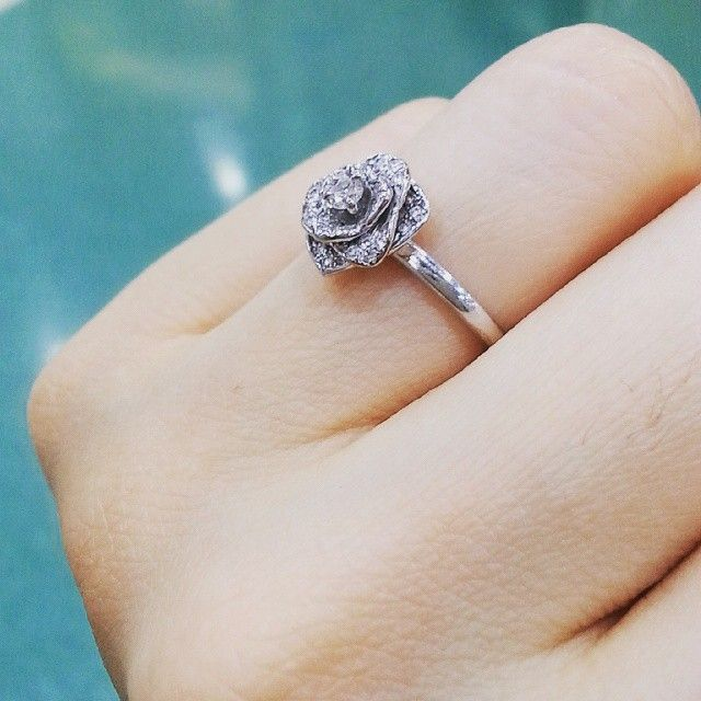 Piaget Rose Ring with Pavé Diamonds in 18K White Gold, Size 7