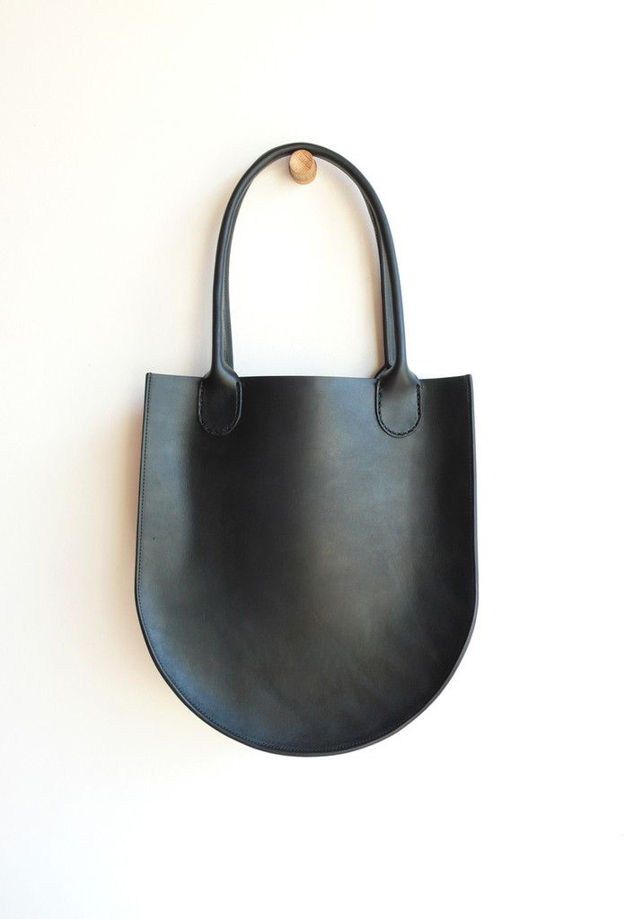 964f9e0012c1 Sara Barner Leather Russell Tote - Black x 14 x 5 in. -English Bridle  leather -one inside pocket -hand stitched rolled handles