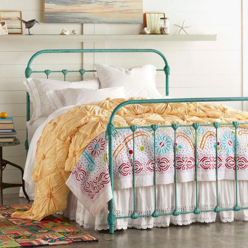 Sky & Sea Iron Bed Iron bed frame, Iron bed, Turquoise
